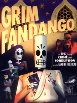 A movie poster-style depiction of several film noir style characters whose appearance is that of stylised skeletons.