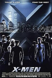 Poster shows a big X with a city skyline in the background. In the foreground are the film's characters. The film's name is at the bottom.