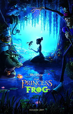 A princess in a swamp with a frog standing on her hand