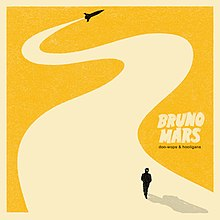 "The silhouette of a rocket is shown flying away through a yellow background, leaving behind a trail on which the silhouette of a fedora-wearing man is walking. The words ""Bruno Mars"", in beige capital font, and ""Doo-Wops & Hooligans"", in lower case black font, are printed to the right."