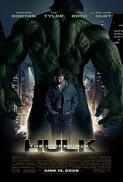 The big green Hulk, showing his back, Banner dressed in denim with a shoulder bag and head hung low facing foward.