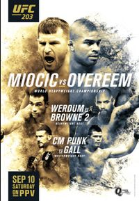 A poster or logo for UFC 203: Miocic vs. Overeem.