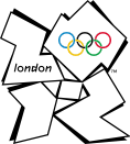 "Four abstract shapes placed in a quadrant formation spelling out ""2012"". The word ""London"" is written in the shape representing the ""2"", while the Olympic rings are placed in the shape representing the ""0""."