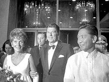 Marcos at Gob. at G. Ronald Reagan ng California sa pagbubukas ng CCP
