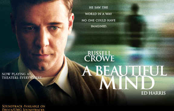 A Beautiful Mind starring Russell Crowe, Ed Harris, Jennifer Connelly and Paul Bettanyl