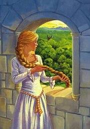 Kuleye kapatılmış Rapunzel.