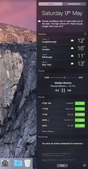 OS X Bildirim Merkezi (Apple) Notification Center.jpg