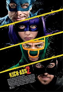 Four masked faces, against a black background, yellow diagonal lines dividing them. An older man with rough stubble on his chin, in a blue mask; a girl with purple hair wearing a purple mask; a man in a green and yellow mask; a man in a black mask.