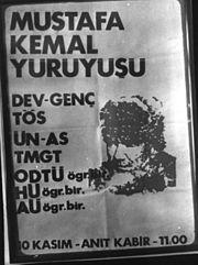 Mustafa Kemal yürüyüşü posteri.
