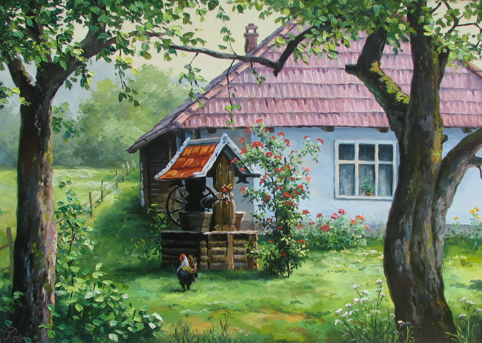 Открытки с домиком в деревне, поздравление днем