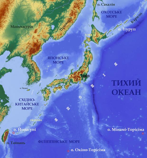 Где находится на карте мира япония