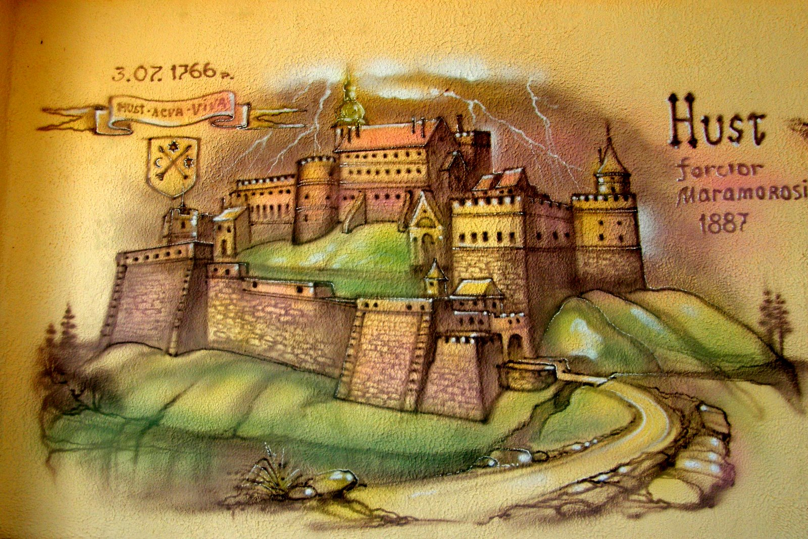 Руїни потужного замку, олені та страуси 3