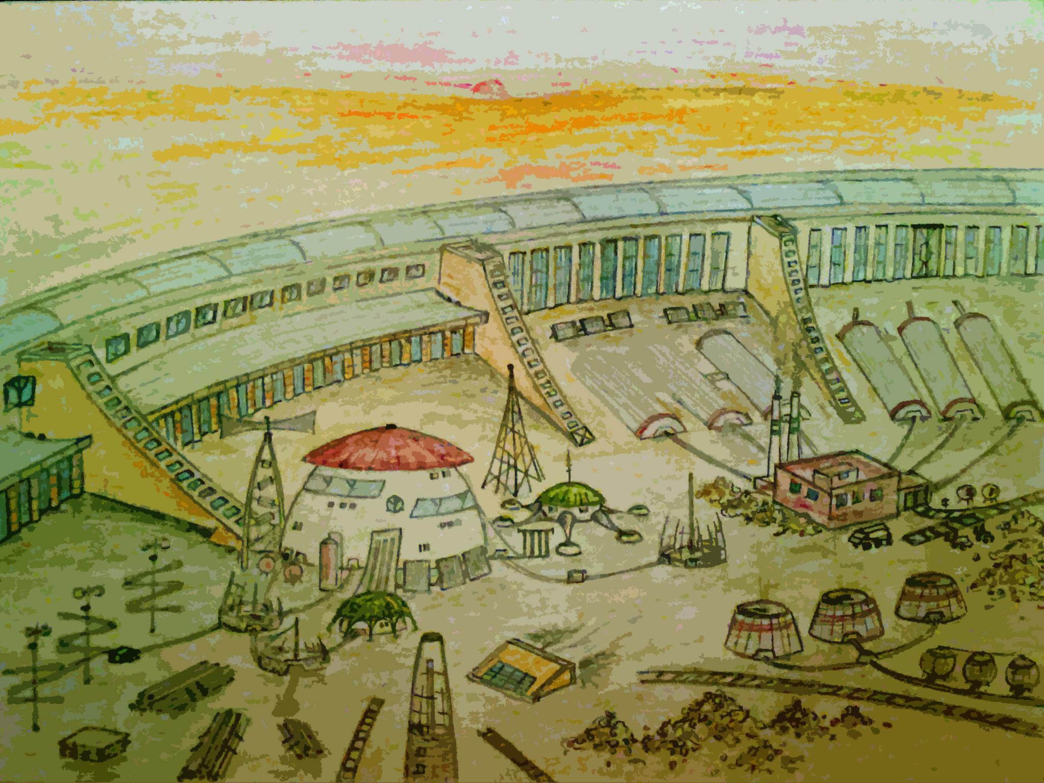 Авторська ілюстрація до книги «На Марс». Будівництво міста Аресполіс