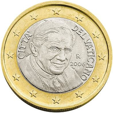 1 Євро аверс Ватикан 2006