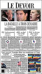 2003 Quebec general election Le Devoir.jpg