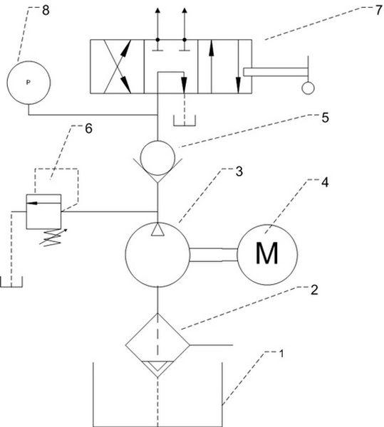 Схема насосной системы гидравлического управления