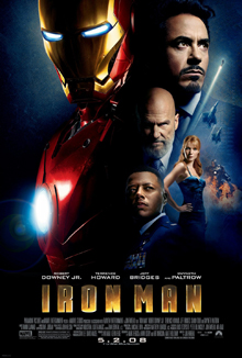 The film's title is shown below juxtaposed images of Tony Stark and Iron Man.