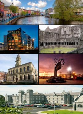 Clockwise from top: View of Garavogue River along JFK Parade, Sligo Abbey, IT Sligo Main Entrance, Clarion Hotel, City Hall, Glasshouse Hotel.