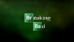 "A green montage with the name ""Breaking Bad"" written on it—the ""Br"" in ""Breaking"" and the ""Ba"" in ""Bad"" are denoted by chemical symbols"