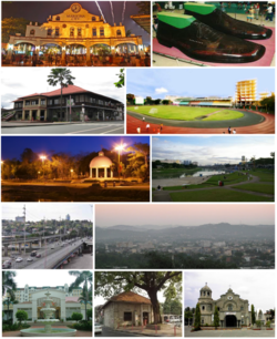 Clockwise from top left: Cityhood Park, Largest Pair of Shoes in the world, Marikina Sports Center, Riverbanks Center, Marikina City skyline, Our Lady of the Abandoned Church, Shoe Museum, Marquinton Residences, Marcos Highway, Roman Garden at Marikina River Park, Sentrong Pangkultura ng Marikina