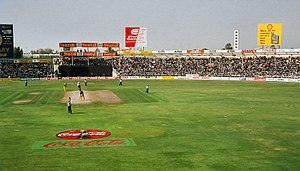 A view of a cricket ground during a match