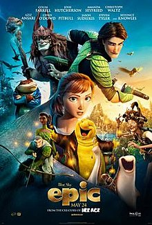 "A young red-headed girl surrounded by a snail and slug, a fairy queen, fairy warriors, a toad and a goblin-like creature in a batskin cloak. In the background is a mountain surrounded by hummingbirds. The words ""Epic"" are at the bottom in gold."