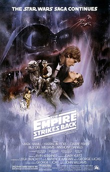 . This poster shows a montage of scenes from the movie. Dominating the background is the dark visage of Darth Vader; in the foreground, Luke Skywalker sits astride a tauntaun; Han Solo and Princess Leia gaze at each other while in a romantic embrace; Chewbacca, R 2-D 2, and C-3PO round out the montage.