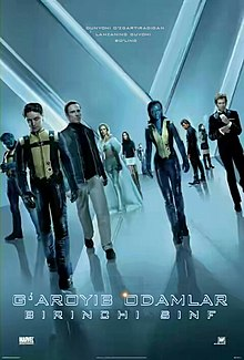 "The X-Men and the Hellfire Club walk towards the viewer. From left to right, they are Beast, Professor X, Magneto, Emma Frost, Moira McTaggert, Havok, Mystique, Azazel, Angel Salvadore and Sebastian Shaw. The background and its reflection on the floor form an ""X""."