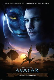 "On the upper half of the poster are the faces of a man and a female blue alien with yellow eyes, with a giant planet and a moon in the background and the text at the top: ""From the director of Terminator 2 and Titanic"". Below is a dragon-like animal flying across a landscape with floating mountains at sunset; helicopter-like aircraft are seen in the distant background. The title ""James Cameron's Avatar"", film credits and the release date appear at the bottom"