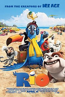 "A blue Spix's macaw wearing a yellow scarf is surrounded by other birds and animals from the film. They sit on a sandy beach with beachgoing tourists in the background, facing away. The weather is mostly sunny, with one cloud in the sky. The text reads ""From the creators of Ice Age: RIO"""
