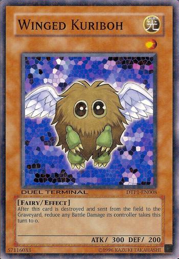 """Winged Kuriboh, lá bài mà Yuki nhận được từ Yugi Muto trong anime tập 1,  sau đó nó trở thành quái thú đồng hành của cậu mà cậu gọi là """"đồng đội"""" ..."""