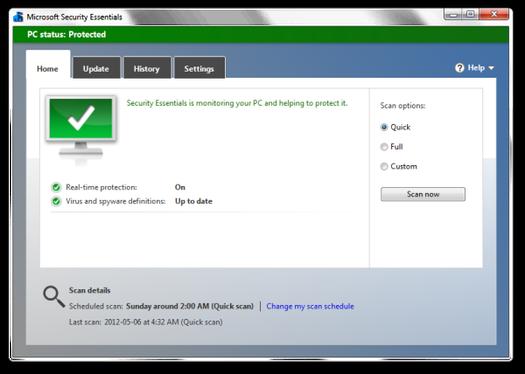 Phần mềm diệt virus Microsoft Security Essentials chính hãng