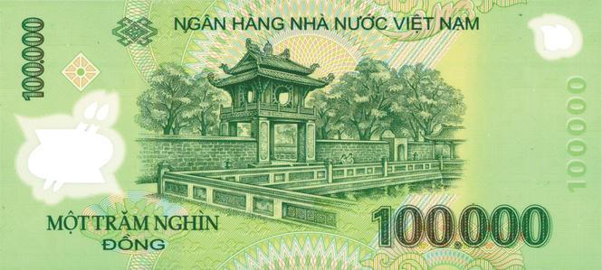 Mặt sau tờ polymer 100.000 đồng tại Việt Nam với hình ảnh Văn Miếu - Quốc  Tử Giám.
