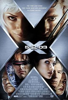 Poster shows a big X, within which are the faces of the film's main characters, and in the centre the film's name.