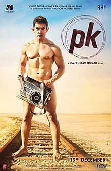 Aamir Khan, as the title character PK, stands nude on the railroad tracks, looking into the camera while obscuring his genitals with a transistor radio.