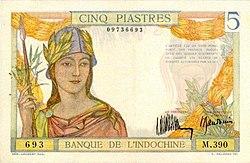 Mặt trước của đồng 5 piastre