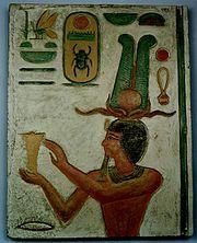 """Thutmosis III là thầy cúng tế; chữ khắc ghi """"pharaon của Thượng và Hạ Ai Cập,  Chúa tể của hai miền đất, Men-cheper-Re"""""""