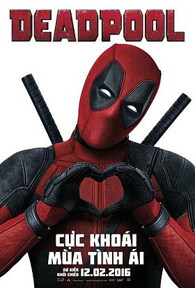 Official poster shows the titular hero Deadpool standing in front of the viewers, with hugging his hands, and donning his tradional black and red suit and mask, and the film's name, credits and billing below him.