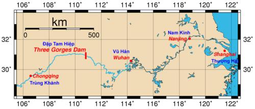 Vị trí của đập Tam Hiệp và các thành phố chính trên sông Dương Tử.