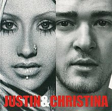 "A split black and white picture depicting a man and woman with the text ""Justin & Christina"" placed on the bottom"