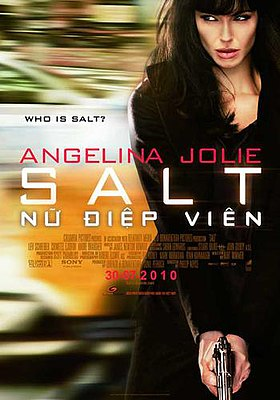 "A woman's face with. The word 'SALT' is in the center, below it the question ""Who is Salt?"""