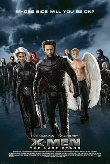 "The X-Men walk towards the viewer. In front, Wolverine with his claws unsheathed, Storm and Angel. In the back are Kitty Pryde, Cyclops, Jean Grey, Rogue, Beast and Professor X. Atop the image is written ""Whose Side Will You Be On?"". Below are the film's title and credits."