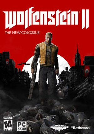 "The game's cover art. The text ""Wolfenstein II"" is in the centre, with the text ""The New Colossus"" written underneath it, aligned to the left. Underneath and in front of the text is main protagonist B.J. Blazkowicz."
