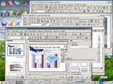 Hacao Office 2.01 với ba ứng dụng OpenOffice.org đang hoạt động