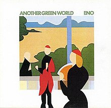"A picture of the album cover. In the center is an image made of geometric shapes showing two people inside and a window showing bushes and a man outside. Above this image the words ""Another Green World"" and ""Eno"" are written."