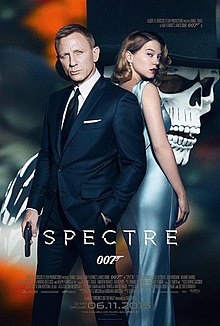 James Bond, holding a gun and standing next to a woman in front of a masked man, with the film's title and credits
