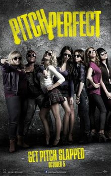 7 women wearing sunglasses and posing. The words Pitch Perfect painted in yellow above them.