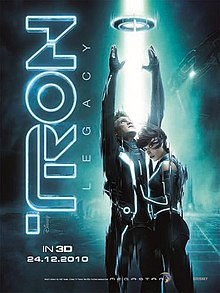 A man releasing a disc upwards into the air, embraced by a woman. A beam of light descends upon the disk. In the background is a futuristic city and spaceships.