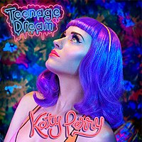 "Upper bust of a purple-haired woman staring at the upper left of the picture. She is standing in front of a blurred multicolored painting. In the upper left, the words ""Teenage Dream"" are written in neon light blue letters inside a neon pink sign. Below her neck, the words ""Katy Perry"" are written in candy-like pink letters."