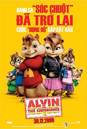 Three male chipmunks and three female chipmunks, a red title banner in the middle of the poster and three female chipmunks underneath